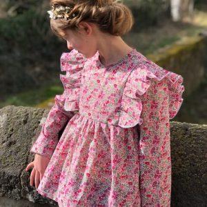 blouse cécile poppy forest crimson pink face