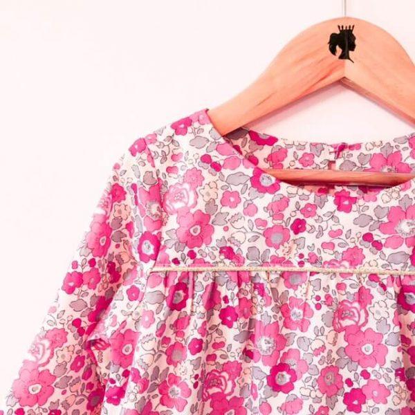 blouse louise betsy bougainvillée devant détail