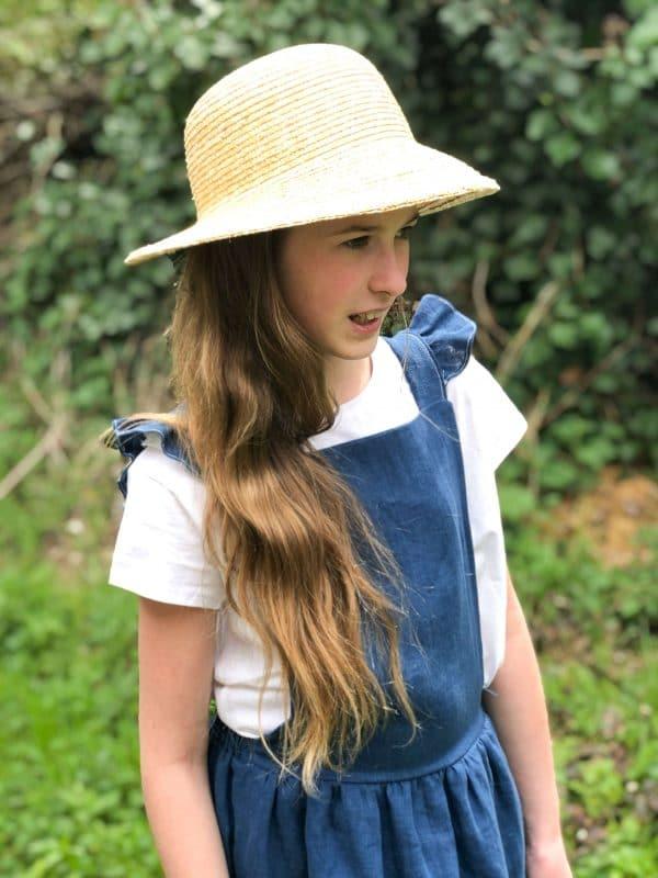 robe tablier lin bleu sarcelle