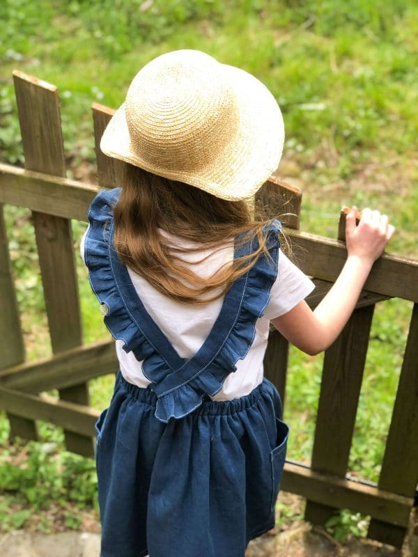 robe tablier lin bleu sarcelle bretelles volantées