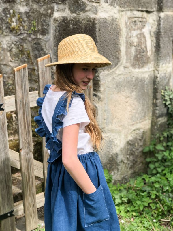robe tablier lin bleu sarcelle profil
